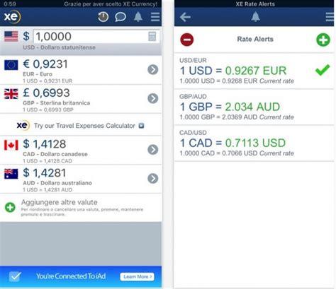 convertitore valuta italia converti le valute mondo con xe currency iphone italia