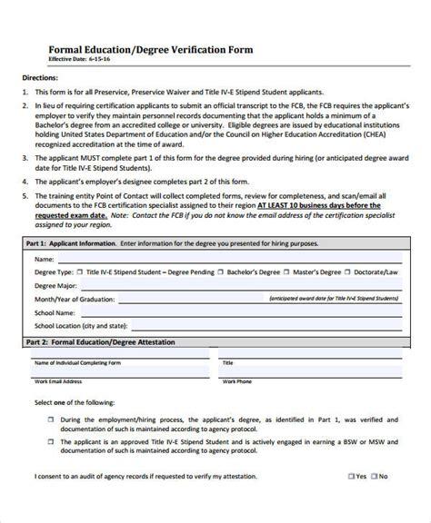 Degree Certificate Verification Letter Verification Form