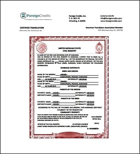 marriage certificate translation template pdf sle