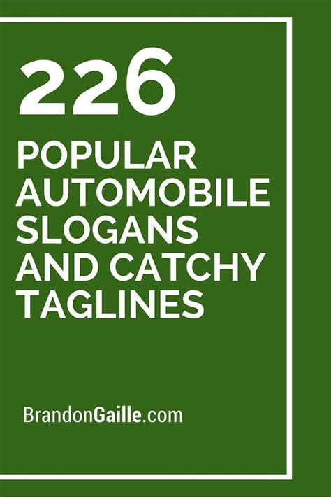 Auto Slogans by List Of 226 Popular Automobile Slogans And Catchy Taglines