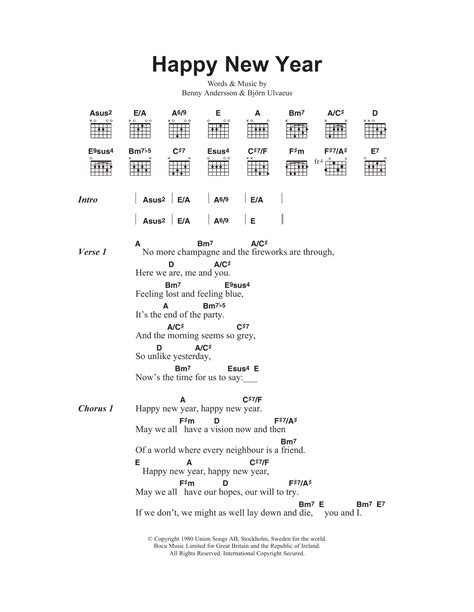 lyrics of new year song happy new year by abba guitar chords lyrics guitar