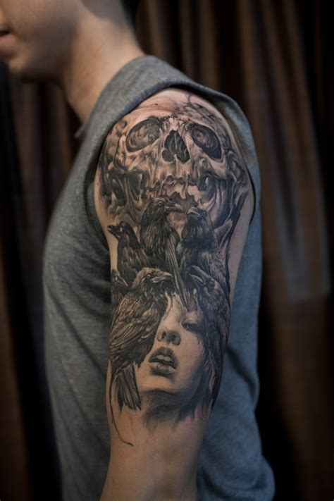 skull half sleeve tattoos for men western realism black and grey archives chronic ink
