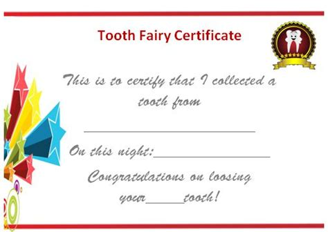 20 free tooth fairy certificates in stunning printable