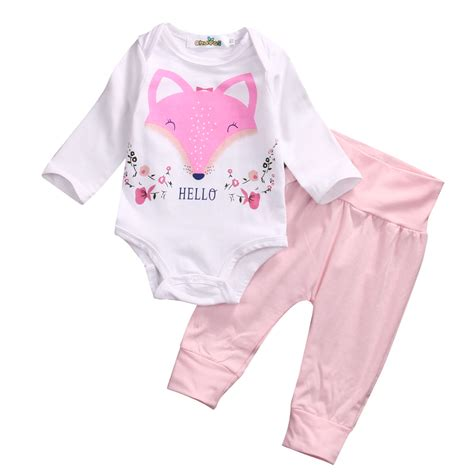 baby bodysuit baby shirt in pink baby 2017 newborn baby clothes pink fox sleeve cotton
