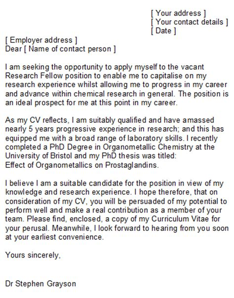 cover letter for phd application in chemistry chemist cover letter sle