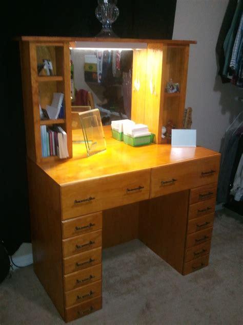 Cheap White Bedroom Furniture Sets varnished oak wooden vanity table dresser with 14 drawers