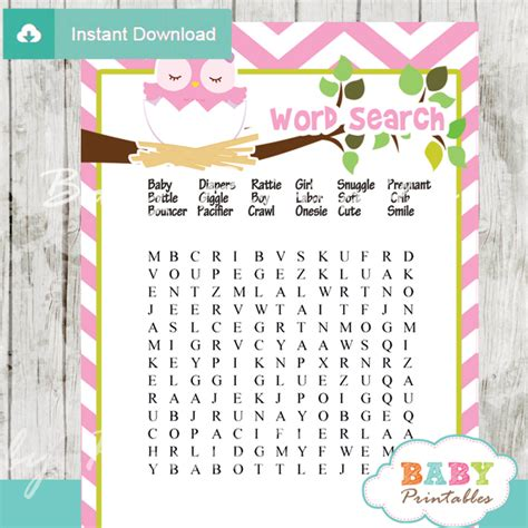 printable owl word search pink owl baby shower games bundle d123