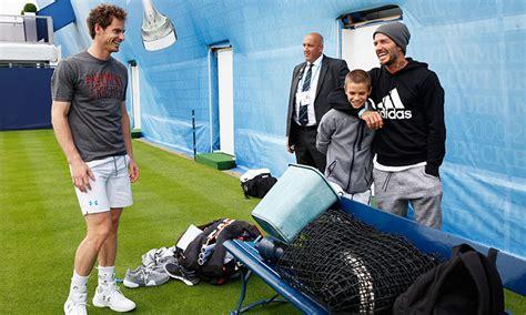 romeo beckham tennis tournament romeo beckham enjoys tennis match against andy murray