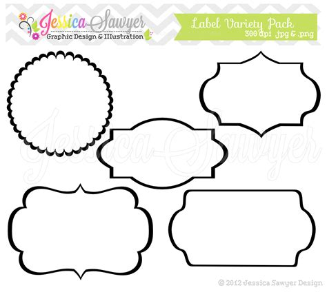 Printable Label Art | instant download label variety pack digital frames