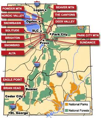 Utah Ski Resorts Map by Utah Ski Resorts