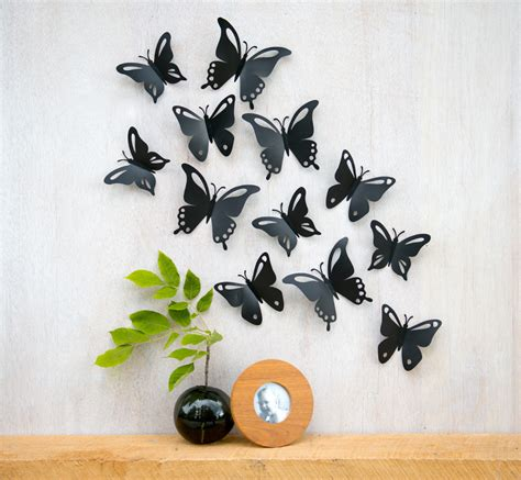 Wall Decoration With Butterfly by Butterfly Wall Pop Up Black Butterflies 3d Wall Decor