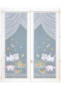 paire de rideaux droits chats bleu bonheur