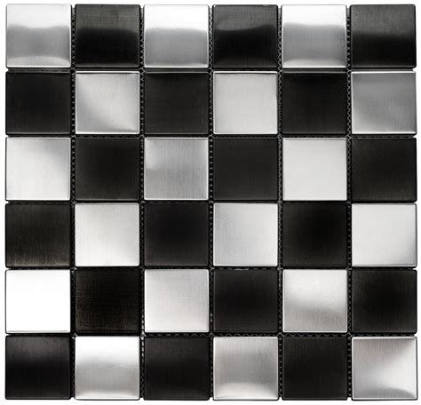 Stainless Steel Kitchen Backsplashes Square Metal 2x2 Quot Silver And Black Mosaic Stainless Steel Tile