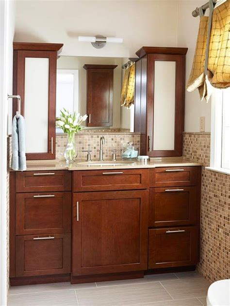 master bath vanity using kitchen cabinet bases storage packed bathroom remodel the two vanities and
