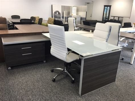 white glass office desk potenza executive l desk with white glass top used