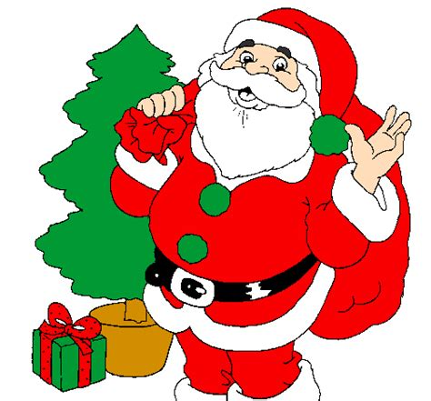 santa claus with tree images colored page santa claus and a tree painted by