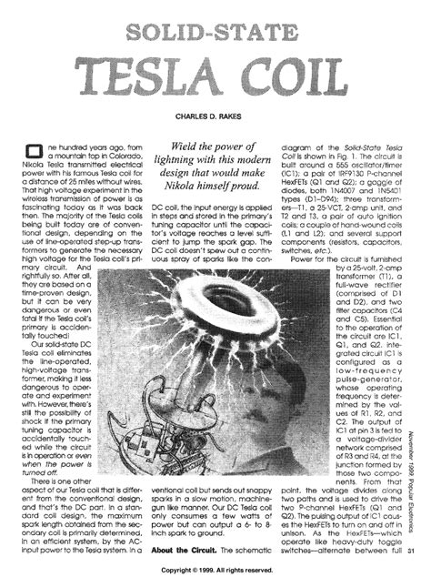How To Build A Solid State Tesla Coil The Gallery For Gt Tesla Coil Drawing