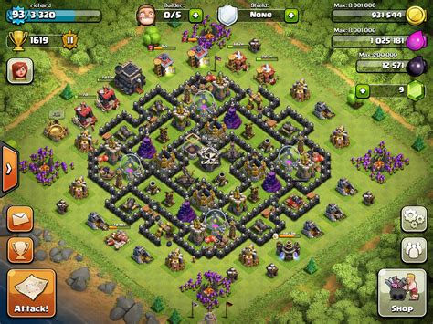 coc map layout th9 clash of clans level 9 town hall farming setup www