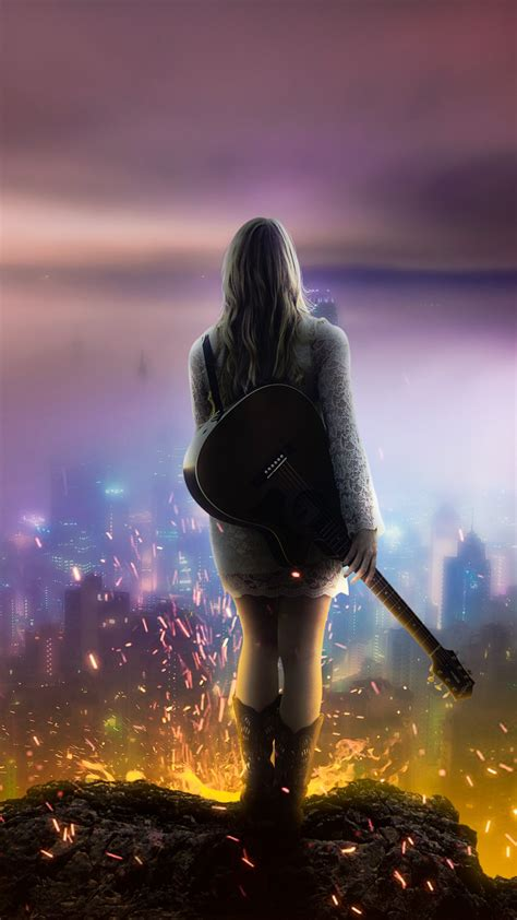 wallpaper girl dream  guitar night city