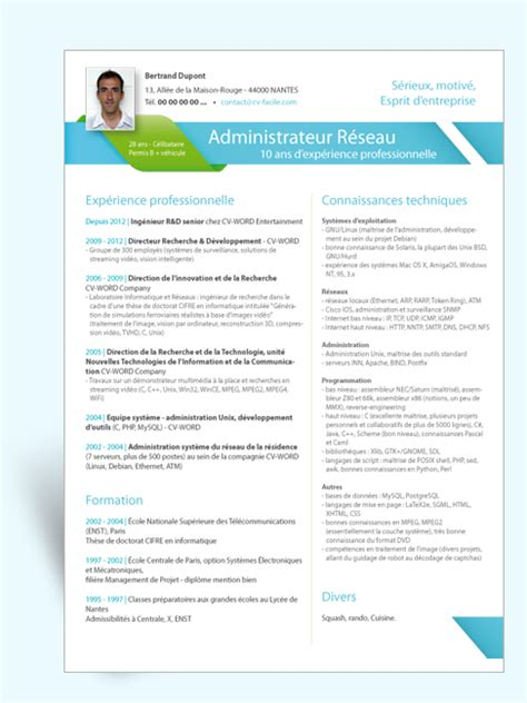 Curriculum Vitae Professionnel Modèle by Exemple Mod 232 Le Cv Administrateur R 233 Seau
