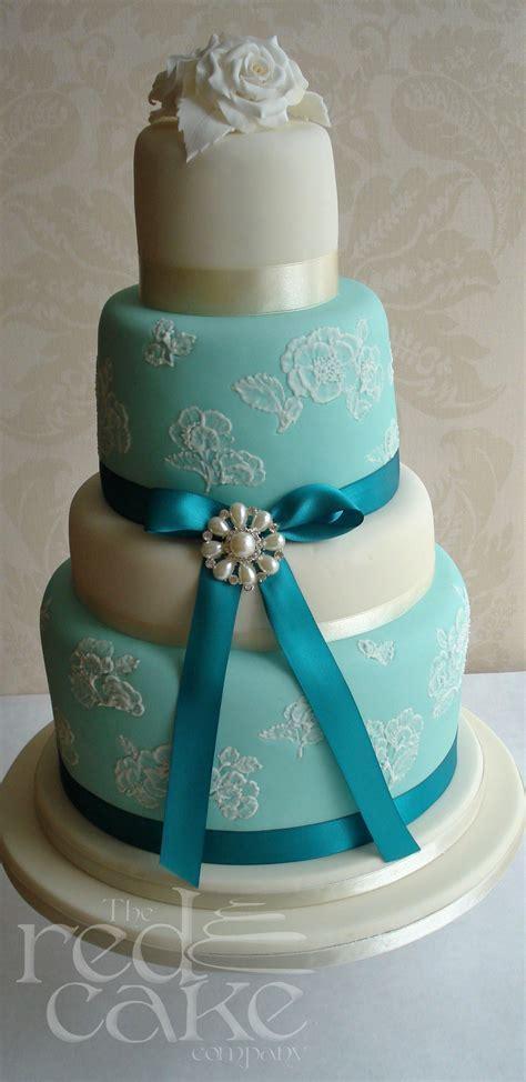 Vintage Teal Wedding Cake   redcakecompany