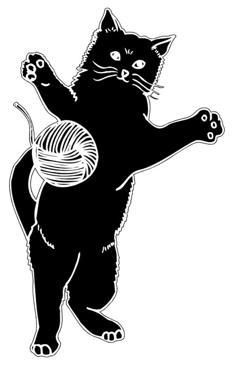 OnlineLabels Clip Art - Cat Playing With Ball Of Yarn