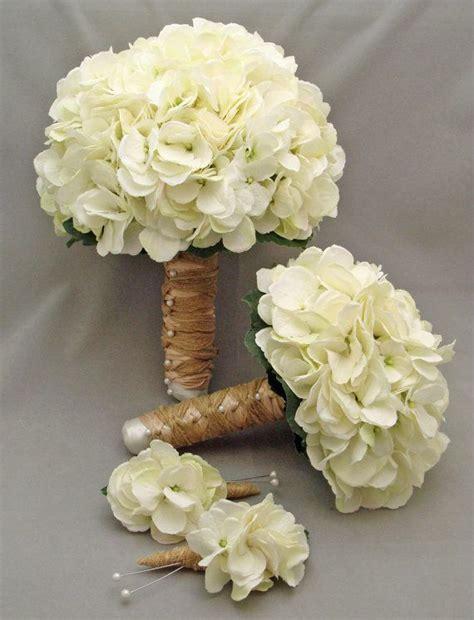 White Silk Hydrangea Bridal & Bridesmaid Bouquet Groom's