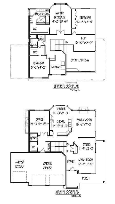 two story house plans with master on second floor two story house plan