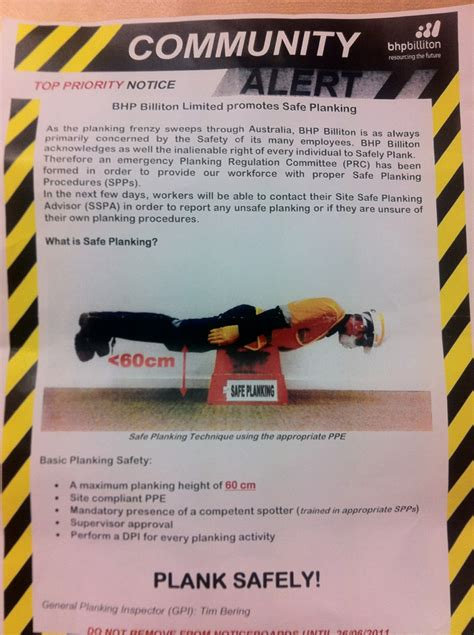 the bhp planking safety alert safetyrisk net