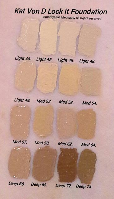 kat von d lock it foundation light 41 kat von d lock it foundation swatches try med 58