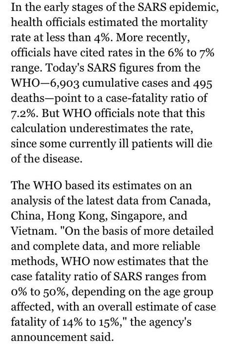 SARS started with a 4% mortality rate and over the years