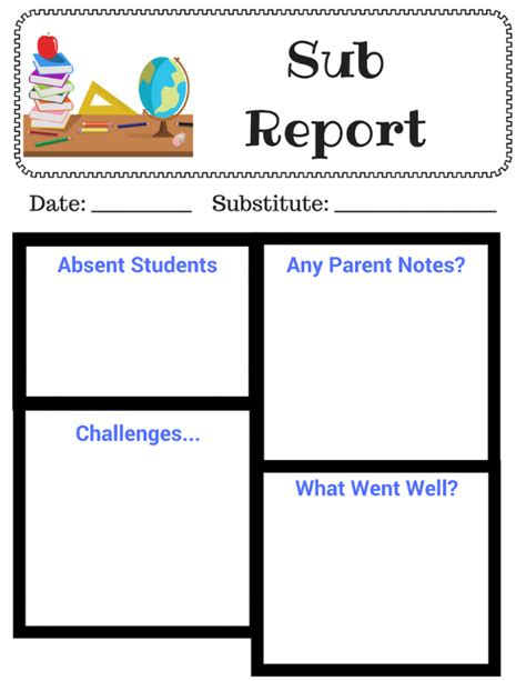 Substitute Teacher Printable Diaries Of A Domestic Goddess Substitute Report Template