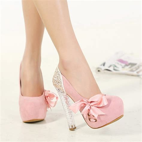 pink toe chunky bow sweet high heeled shoes pumps