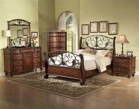metal wood sleigh bed room set or king size
