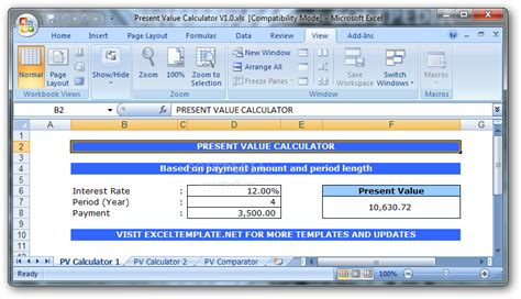 How To Calculate Net Present Value In Excel 2007 How To Calculate The Present Value Npv In Present Value Calculator Excel Template