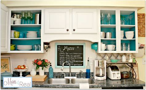 Open Cabinets With White Aqua Lime Green Silver Accents | hometalk open kitchen cabinets with aqua white lime
