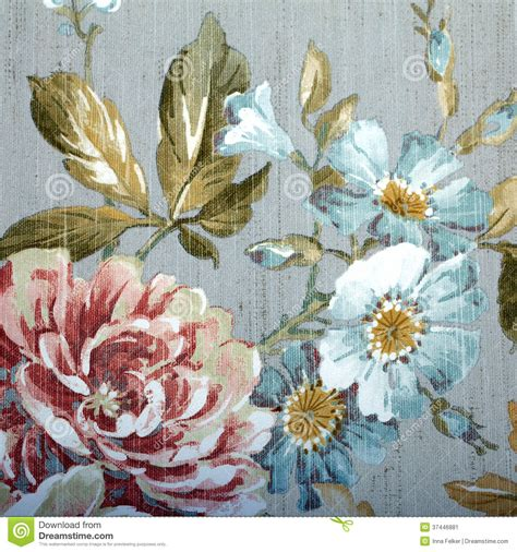 grey wallpaper with teal flowers vintage wallpaper with floral pattern stock image image