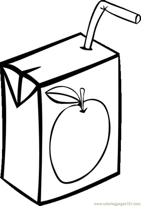 Coloring pages apple juice box bw svg hi food amp fruits gt apples
