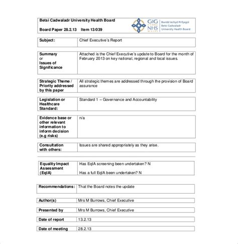 board report template executive report template 10 free sle exle