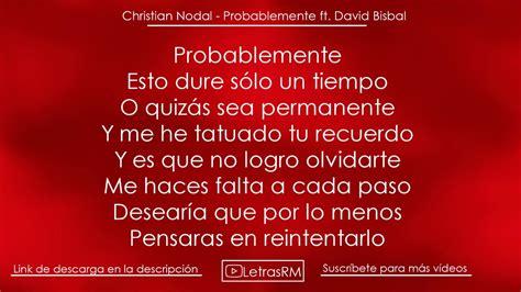 christian nodal probablemente letra viyoutube letra 168 probablemente 168 christian nodal ft david bisbal