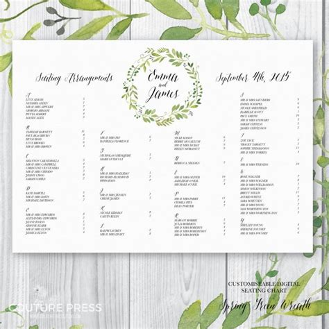 Wedding Seating Chart by Printable Wedding Seating Chart Watercolour Green