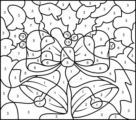coloring pages by number hard christmas bells printable color by number page hard