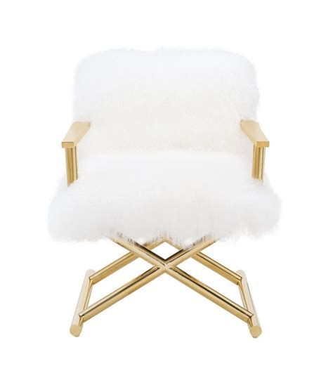 fluffy white sheepskin director chair