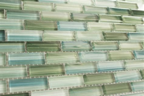 green blue white subway glass mosaic tile kitchen
