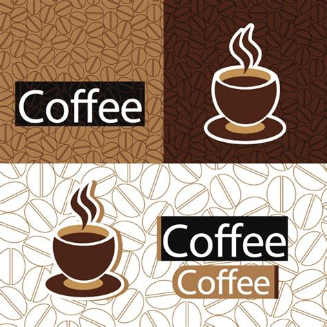 wallpaper with coffee theme several coffee theme background vector material my