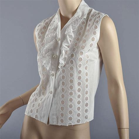 Nasya Blouse White 50 40s 50s white sleeveless eyelet blouse s from mairemcleod on ruby