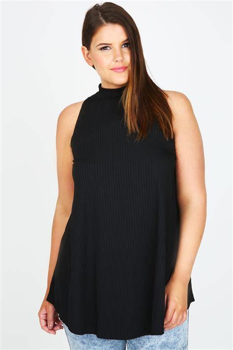 Black Sleeveless High Neck Blouse by Black High Neck Ribbed Sleeveless Top Plus Size 14 16 18