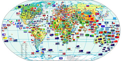 world map with country name and flag world flags