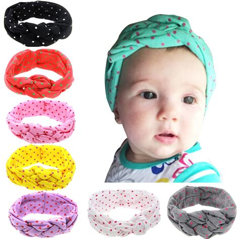 Ribbon Baby Headband baby printing knot headbands children turban knitted knot hair bands ribbon elasticity