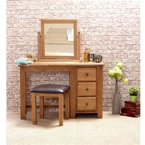 Wooden Dressing Tables With Mirror And Stool by Barista Wooden Dressing Table And Mirror With Stool In Oak